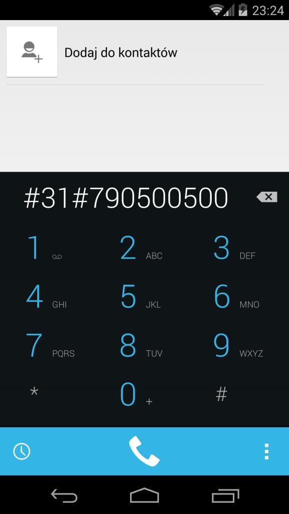 Numer zastrzeżony Android
