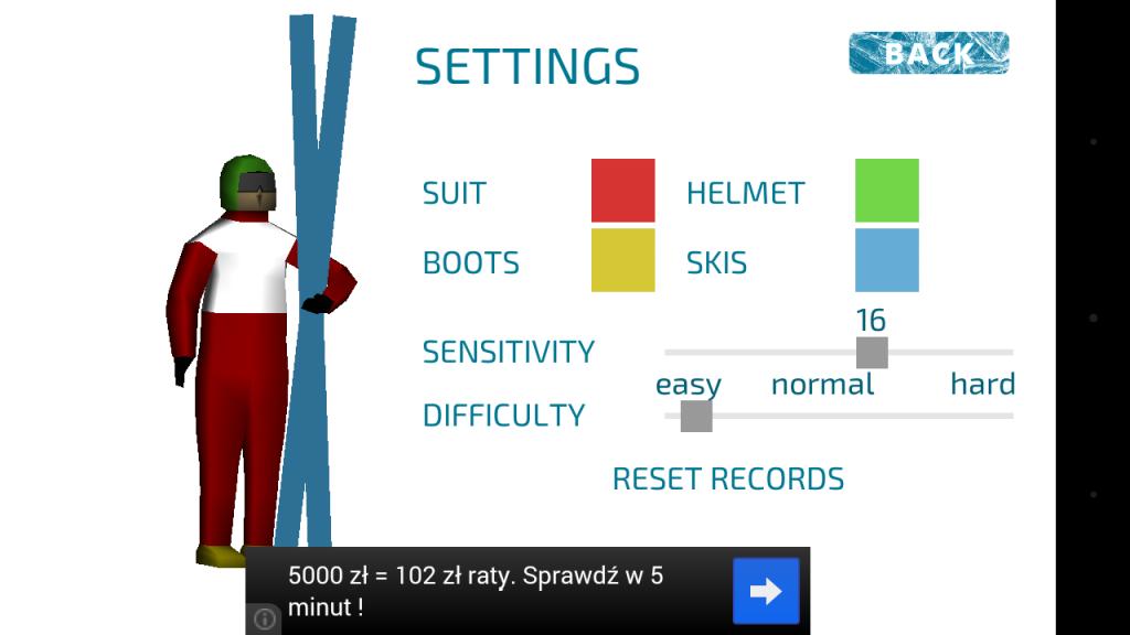 Ski Jump Android Menu